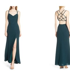Stunning Morgan & Co side slit teal gown dress 1